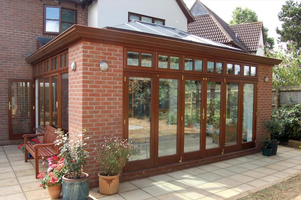 Great Shelford Hardwood Orangery Stained To Match Existing House